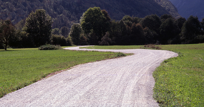 A winding dirt track in Slovenia
